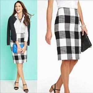 Talbots Tweed Black & White Checkered Pencil Skirt